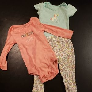 Baby Girl 3 Piece Outfit with Unicorn Design
